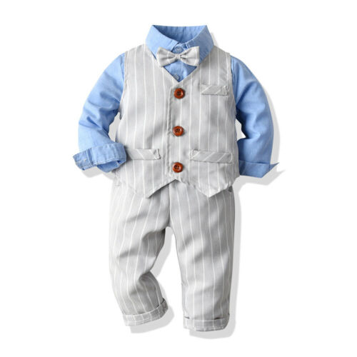 Boys Suits 3 Piece Waistcoat Suit Wedding Page Boy Baby Formal Party 3 Colours
