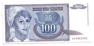Yugoslavia-100-dinara-1992-FDS-UNC-pick-112-lotto-3281