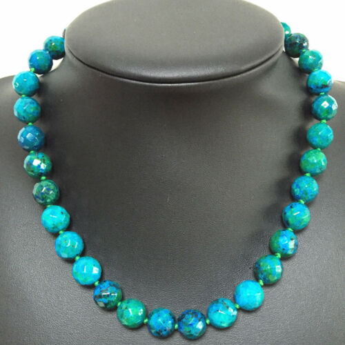 """Handmade Natural 10 mm Faceted Green Azurite Ronde Pierres Précieuses Perles Collier 18/"""""""