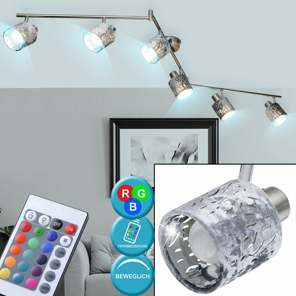 RGB LED ceiling lamp spot strip adjustable REMOTE CONTROL Velvet lamp dimmable