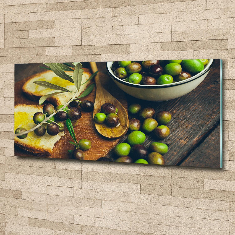 Glas-Bild Wandbilder Druck auf Glas 125x50 Deko Essen & Getränke Oliven
