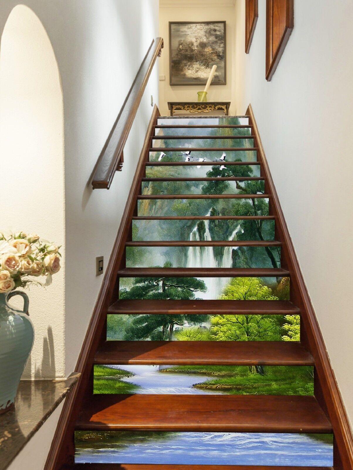 3D Naturlandschaft Stair Risers Dekoration Fototapete Vinyl Aufkleber Tapete DE
