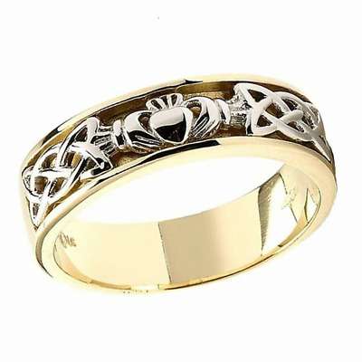 Silver and 14k Gold Irish Handcrafted Claddagh and Celtic Design Ring