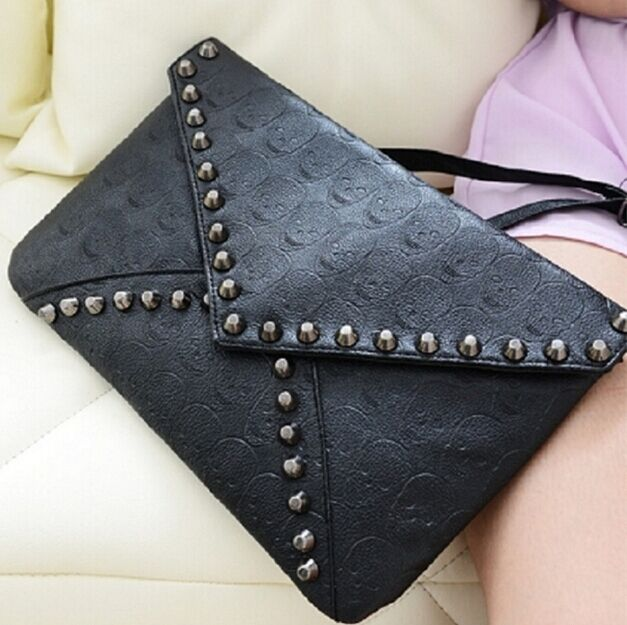 Women PU Leather Skull Shoulder Bag Satchel Clutch Handbag Tote Purse Messenge W