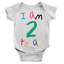 I Am 2 Today Babygrow Cool Birthday Present 2nd Second Body Suit