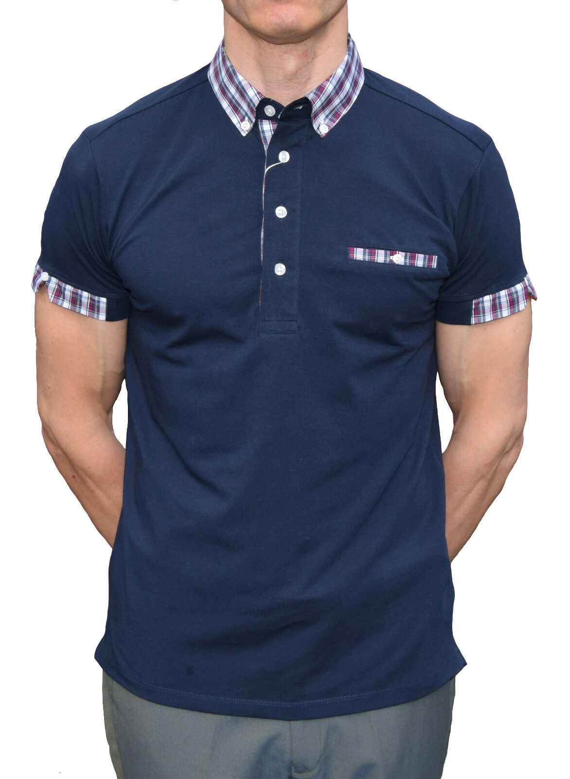 NAVY TARTAN POLO SHIRT RELCO SKINHEAD SCOOTERIST RETRO SKA 60'S MOD CLOTHING
