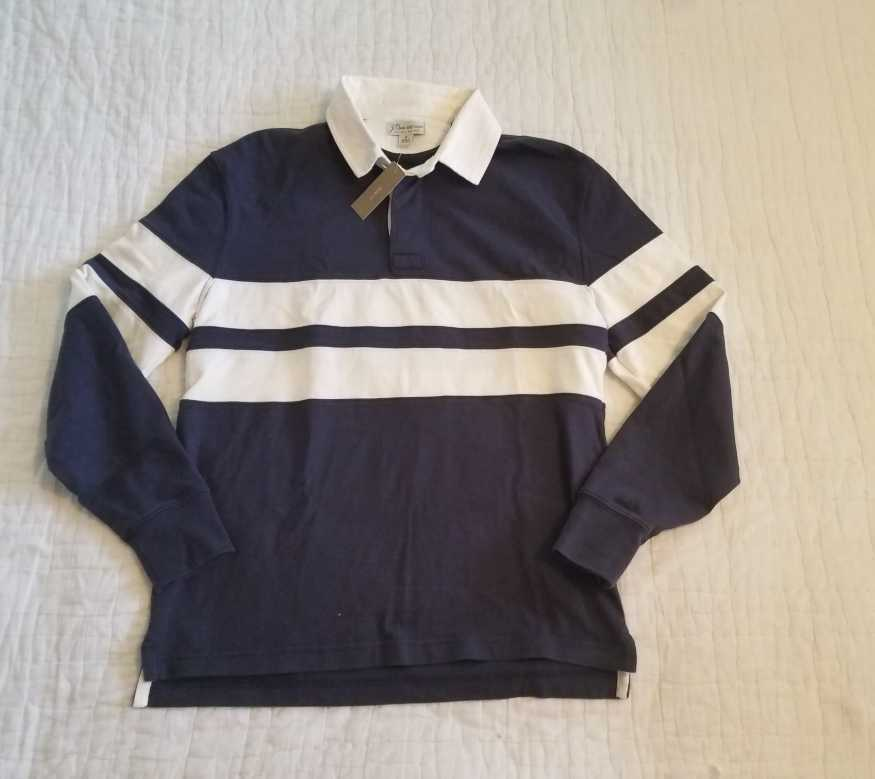NEW MEN'S S  J CREW 1984 LONG SLEEVE RUGBY SHIRT IN NAVY DOUBLE STRIPE