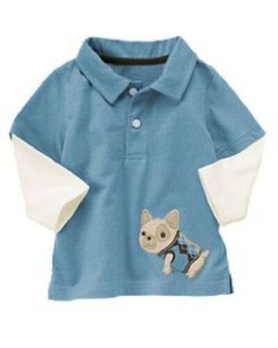 Gymboree NWT Doggone cute Dog Double Sleeve Polo Shirt 3-6 6-12 12-18