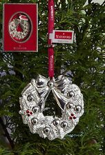 WATERFORD SILVER ORNAMENTS 2012 WREATH CHRISTMAS TREE BAUBLE
