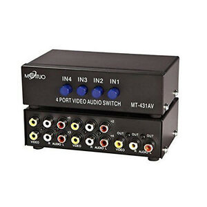 image is loading 4 way av switch rca switcher 4 in