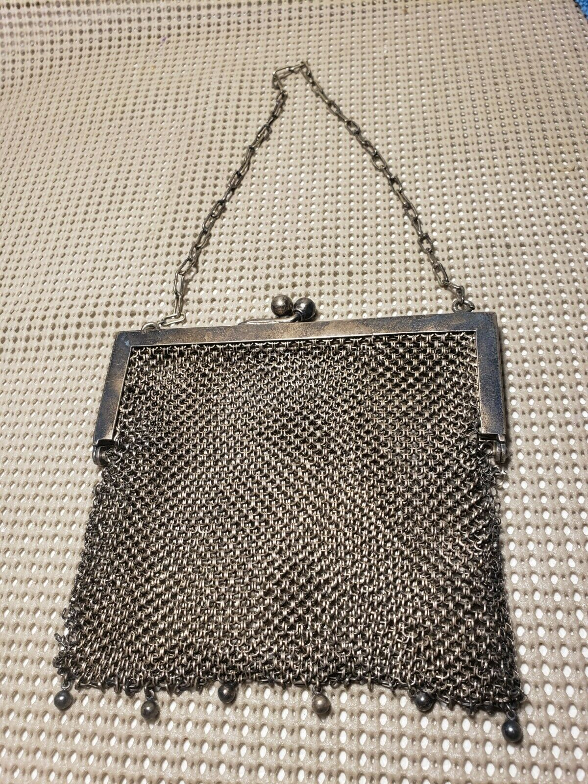 vintage german silver mesh purse will need some repairs