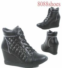 Women's Black Quilted Lace Up Wedge Fashion Sneaker Shoes Size 5.5 - 10 NEW