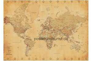 Weltkarte Poster Vintage xxl-poster riesig weltkarte vintage style 140 x 100 cm | ebay