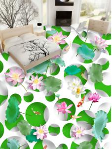 3D Hojas De Loto Planta de Impresión De Parojo de papel pintado mural 56 5D AJ Wallpaper Reino Unido Limón