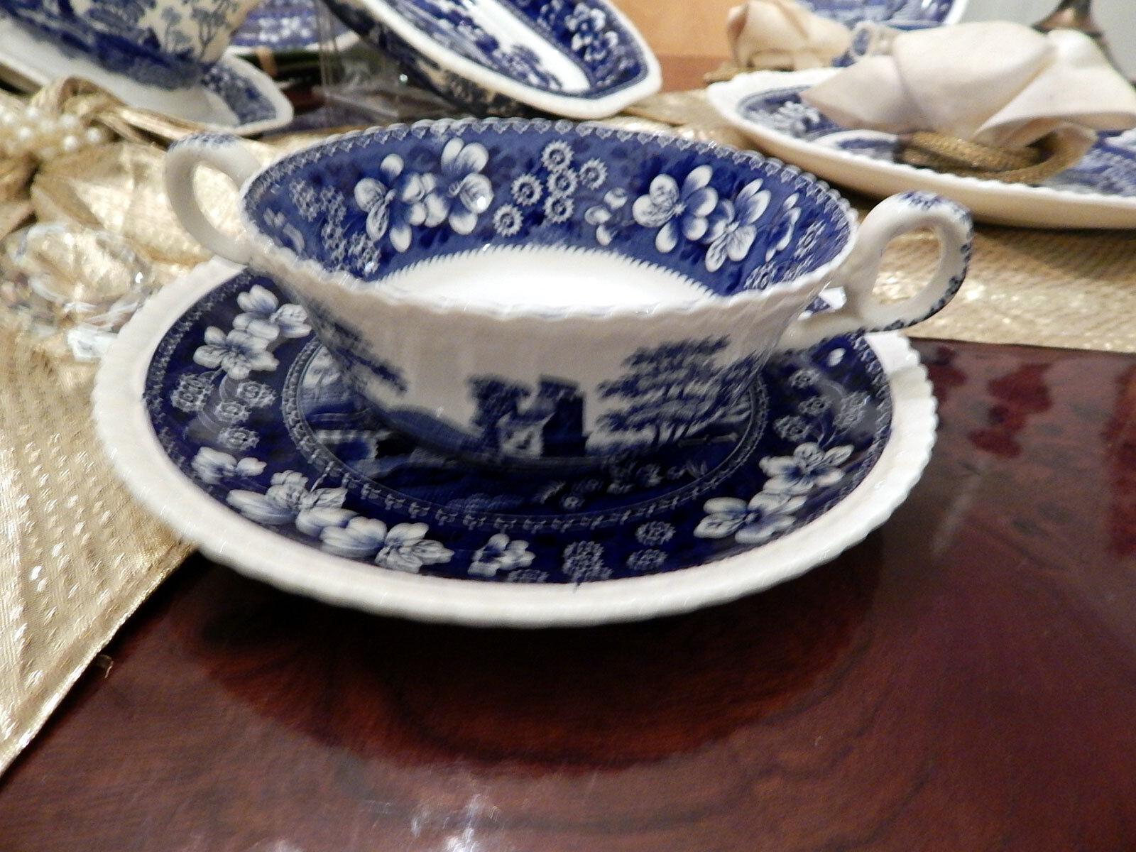 6 x Grand Noble Tasse De Soupe Avec Soucoupe Spode Copeland bleu Tower
