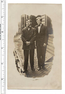 Old-real-photo-RPPC-postcard-Cyko-1904-1920-Young-Men-on-street-store-front