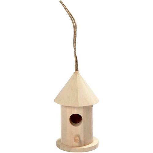 En bois de peuplier rond oiseau maison décorer Petit Jardin Suspendu Décoration 8 cm