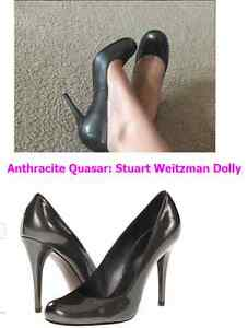 NIB-Stuart-Weitzman-Dolly-rounded-toe-pump-5-6-5-7-7-5-Anthracite-Patent
