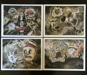 8-5x11-Set-2-Signed-prints-By-Frank-Forte-Pop-Surrealism-Cartoon-Dark-Art