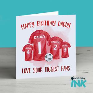 Détails Sur Personnalisé Football Carte Danniversaire Pour Papa Joyeux Anniversaire Papa Manchester Afficher Le Titre Dorigine