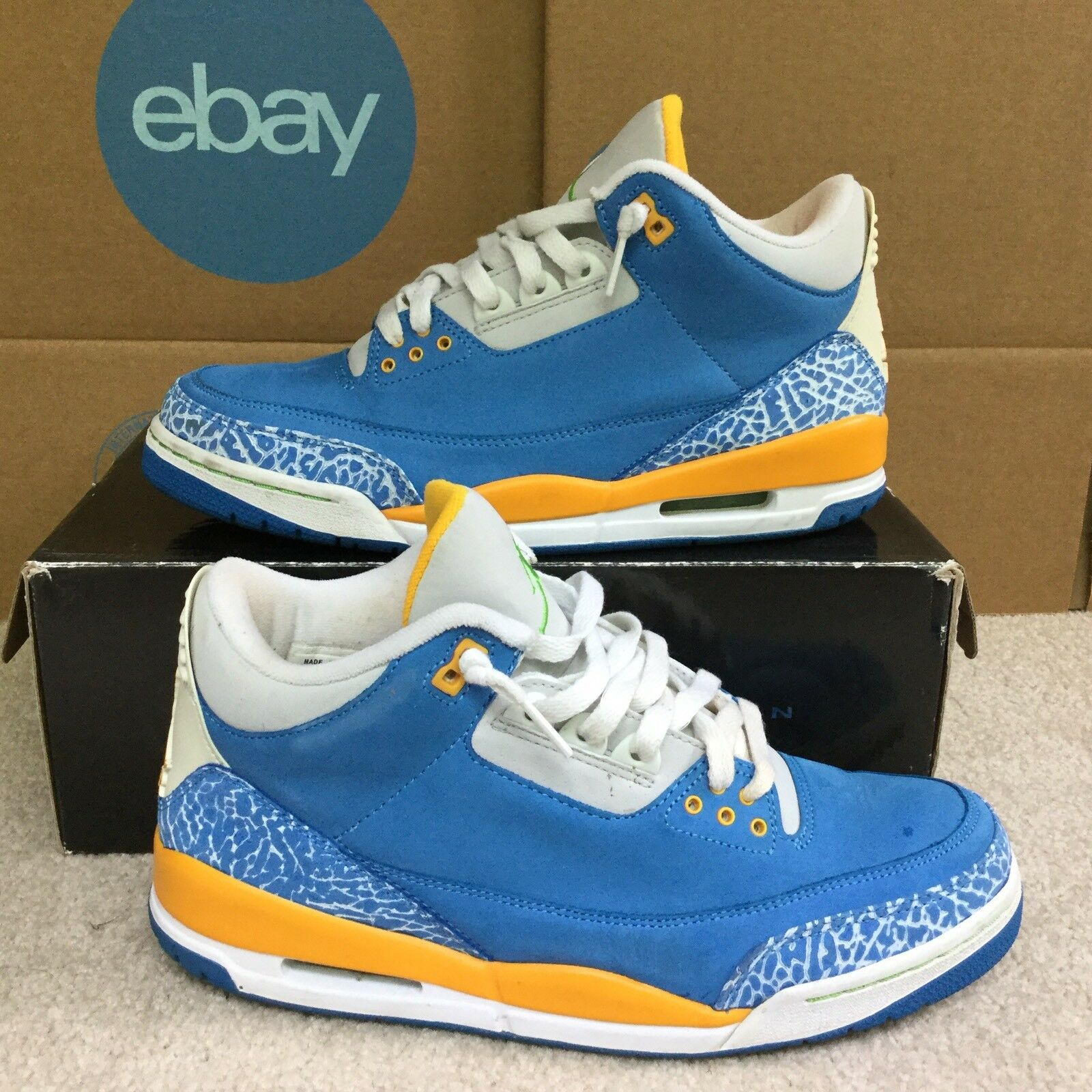 """VNDS Air Jordan 3 III LS """"Do The Right Thing"""" Blue Gold Green Size 10 315297 471"""