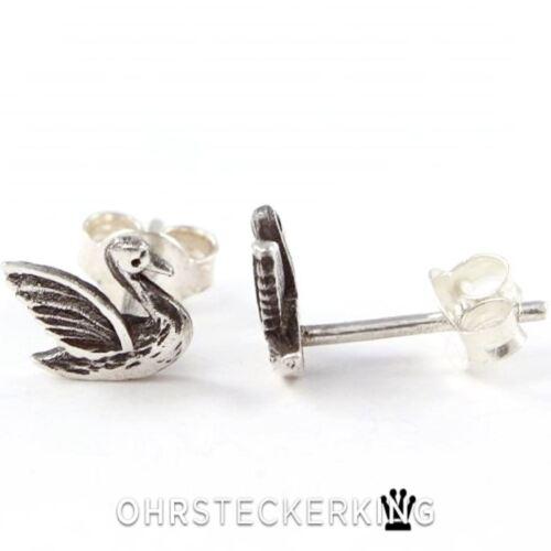 Neu Ohrstecker Schwan Echt Silber 925-Silber