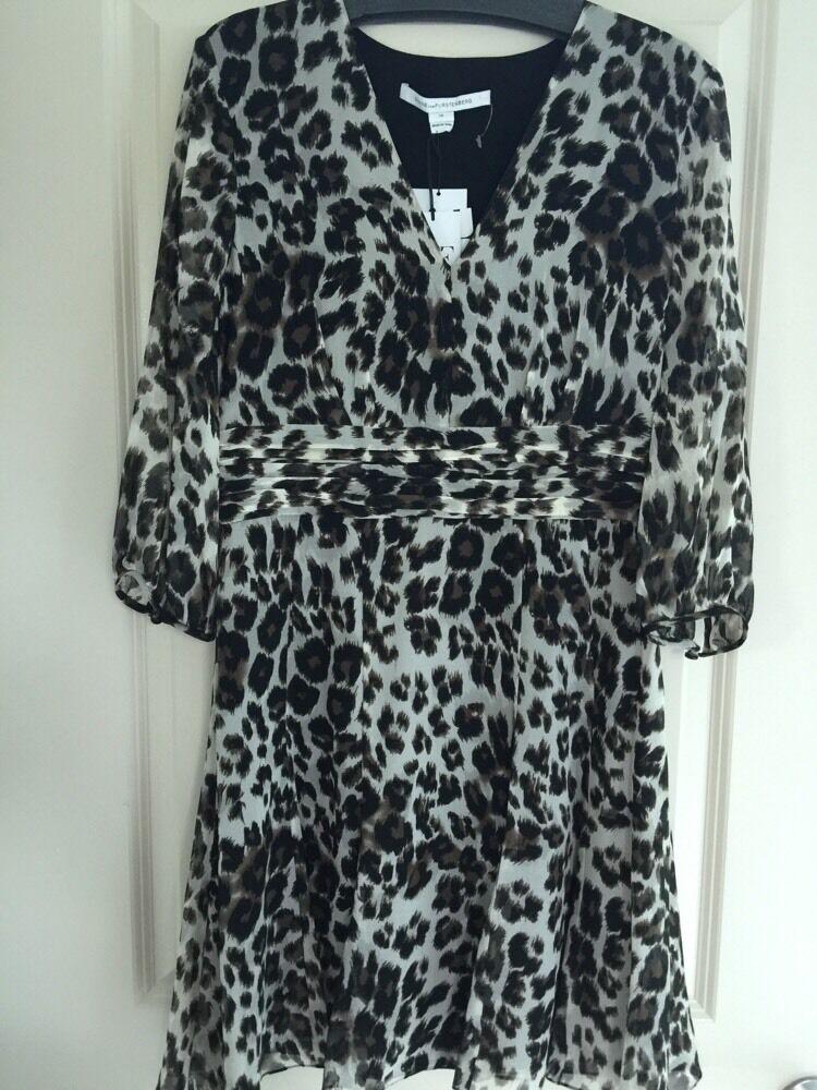Neu Diane von Furstenberg Dvf Langärmlig Langärmlig Langärmlig A-Linie Kleid Schnee Cheetah | Qualität und Verbraucher an erster Stelle  dbc69c