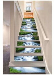 3d Green Grass Streams Design Self Adhesive Stairs Tile Risers