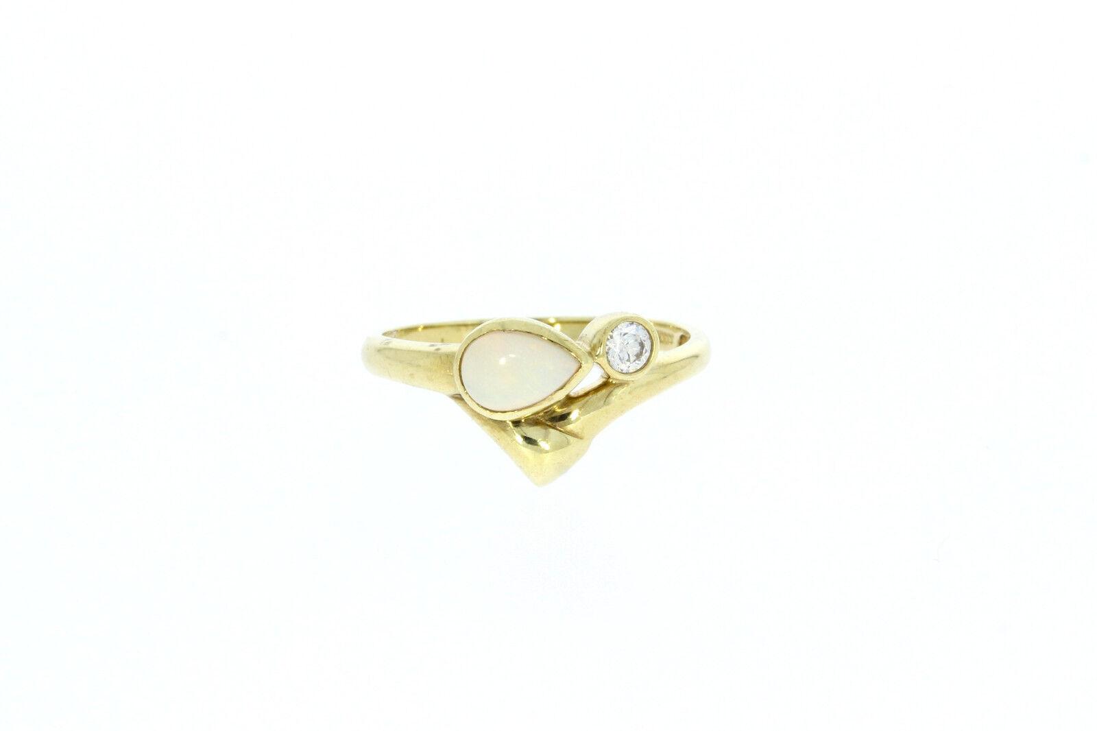 A1537-333er yellowgoldring mit Zirkonia+Opal Ringgroße 57 Breit 10 mm Ge 2,3 Gr