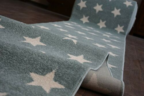 Modern Thick Hall Runner SKETCH STARS turquoise Width 80-120cm extra long Stairs