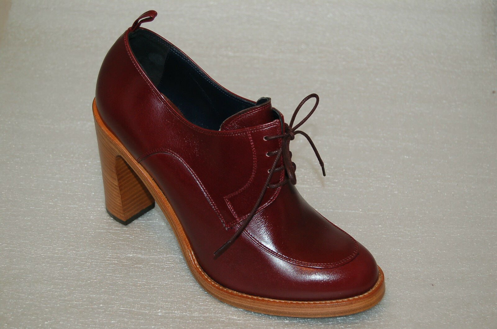 WOMAN - 39½ 39½ 39½ - LACEUP DERBY -BURGUNDY ROANO CALF - HEEL H.9cm - LEATHER SOLE 67d815
