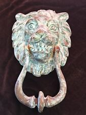 Vintage Old Reclaimed Brass Lion Head Front Door Knocker - Victorian Edwardian
