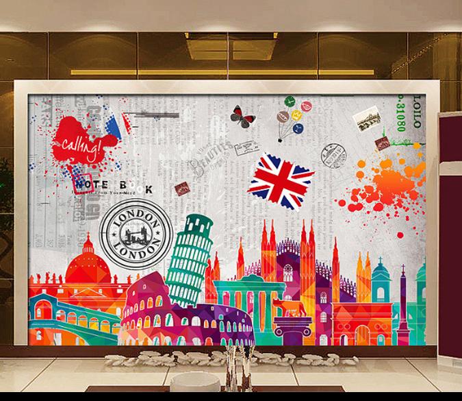 3D Städtische Farbmalerei 88 Tapete Wandgemälde Tapete Tapeten Bild Familie DE