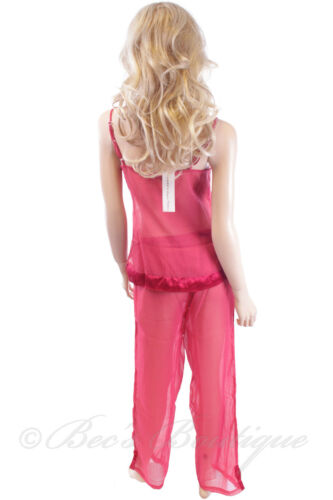Luxury Sheer Pyjamas Waites Cami Lingerie 1012 PJ/'s Ladies Size S M L Red Black