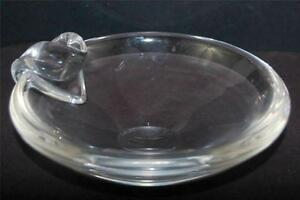 Steuben-Signed-1950-039-s-Designer-David-Hill-Crystal-Art-Glass-Ashtray-MCM