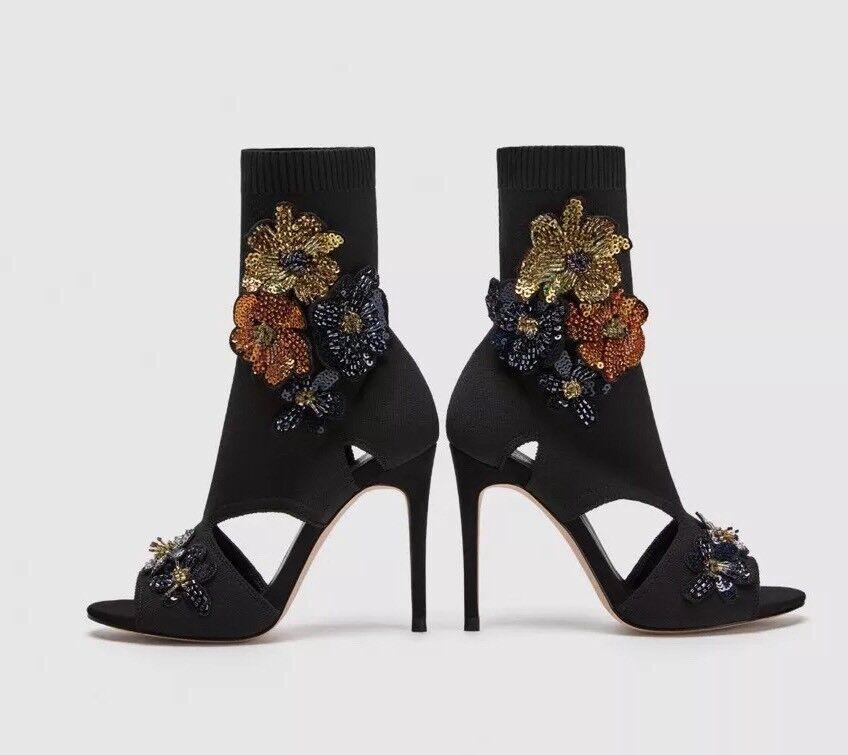 Sandale/Stiefeletten, ZARA, schwarz, Gr gut. 37, Peeptoe, Stoff, sehr gut. Gr Zustand 40d87f