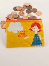 "Blue Q ""What's It Worth To You? "" zipper coin purse recycled by Blanca Gomez"