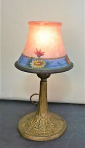 Antique  Reverse Painted etched glass Table Lamp  Pairpoint Style