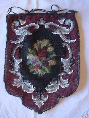 Herrlich Historische Perlentasche,petit Point, Geldkatzem.perlenstickerei 1890 Bis 1920