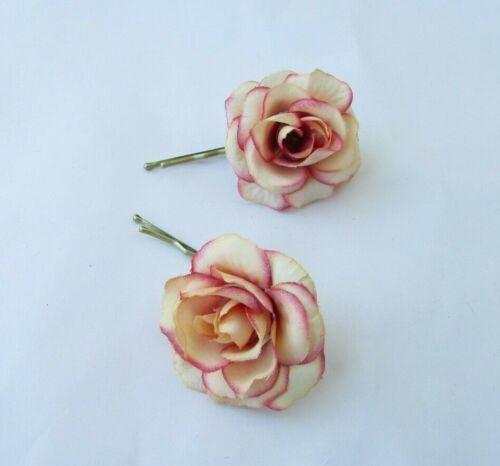 2 x Ombre Beige /& Pink Edge Rose Flower Hair Grips Slides 1950s Floral Vtg 0194