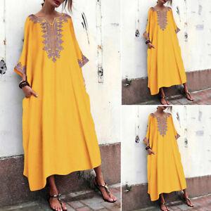Women-Long-Batwing-Shirt-Dress-Oversize-Full-Length-Maxi-Dress-Kaftan-Tops-Plus