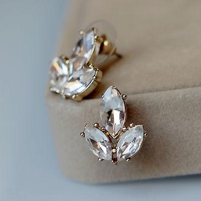 Boucles d`Oreilles Clips Doré Chandelier Art Deco Cristal Transparent Vintage B3