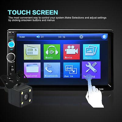 7010B HD Bluetooth 2-DIN 7Inch Touch LCD Car Stereo USB MP5 Player + Car Camera
