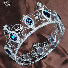 "3.5"" Simulated Blue Sapphire Large Tiara Full Round Crown Pageant Party Costumes"