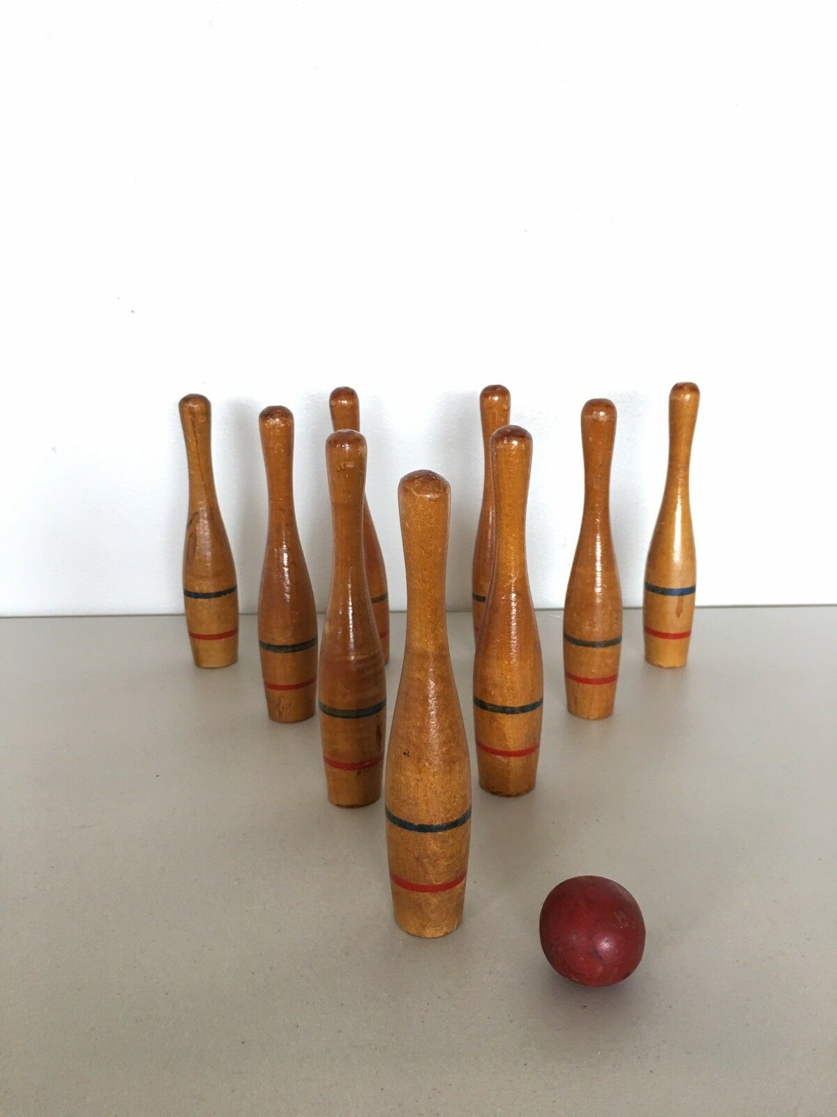 Antique Bowling Game Vintage Skittles Wood Collectible