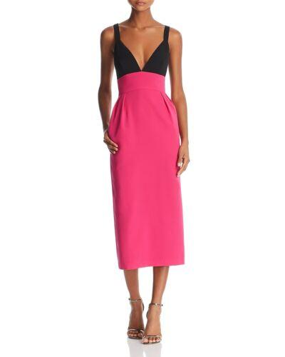 $346 Jill Stuart Womens Pink Black Colorblock V-Neck Midi Cocktail Dress Size 0