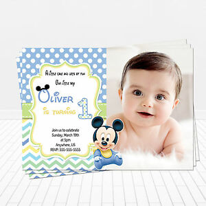 Image Is Loading PRINTED Baby Mickey Mouse 1st Birthday Invitations