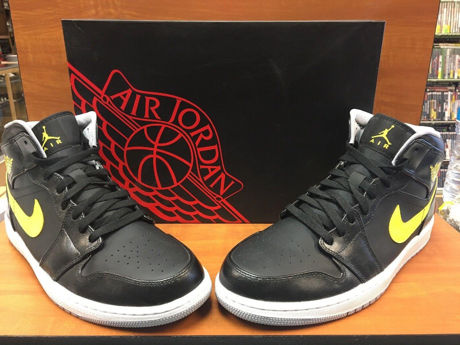 New Nike Air Air Air Jordan One 1 Retro Mid Black Vibrant Yellow 554724-070 Size 12.5 7a8d05