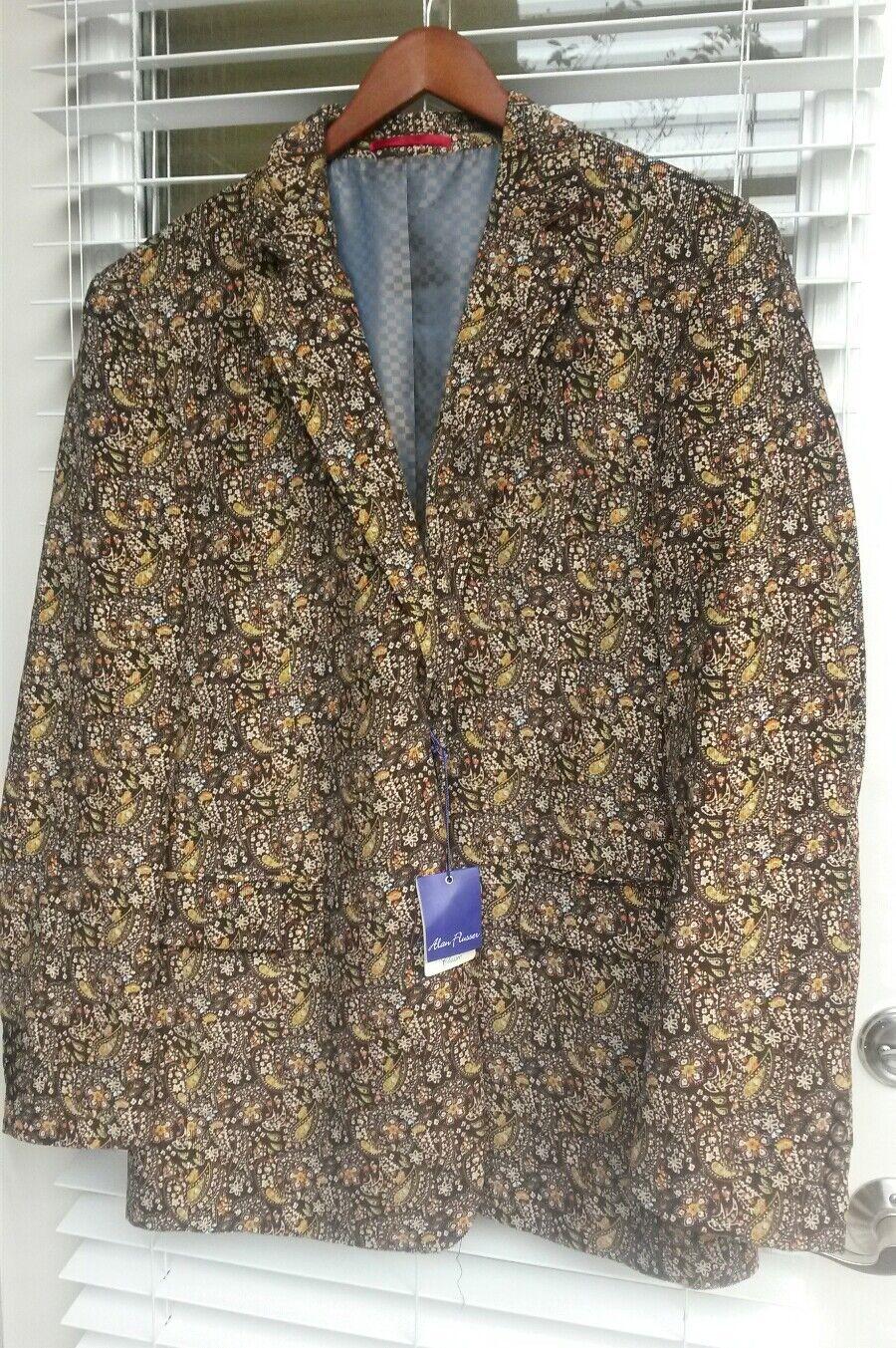 Alan Flusser brown floral men blazer Large