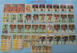 1973-GUY-LAFLEUR-Lot-x-152-Vintage-O-Pee-Chee-Topps-Canadiens-HOF-Batch